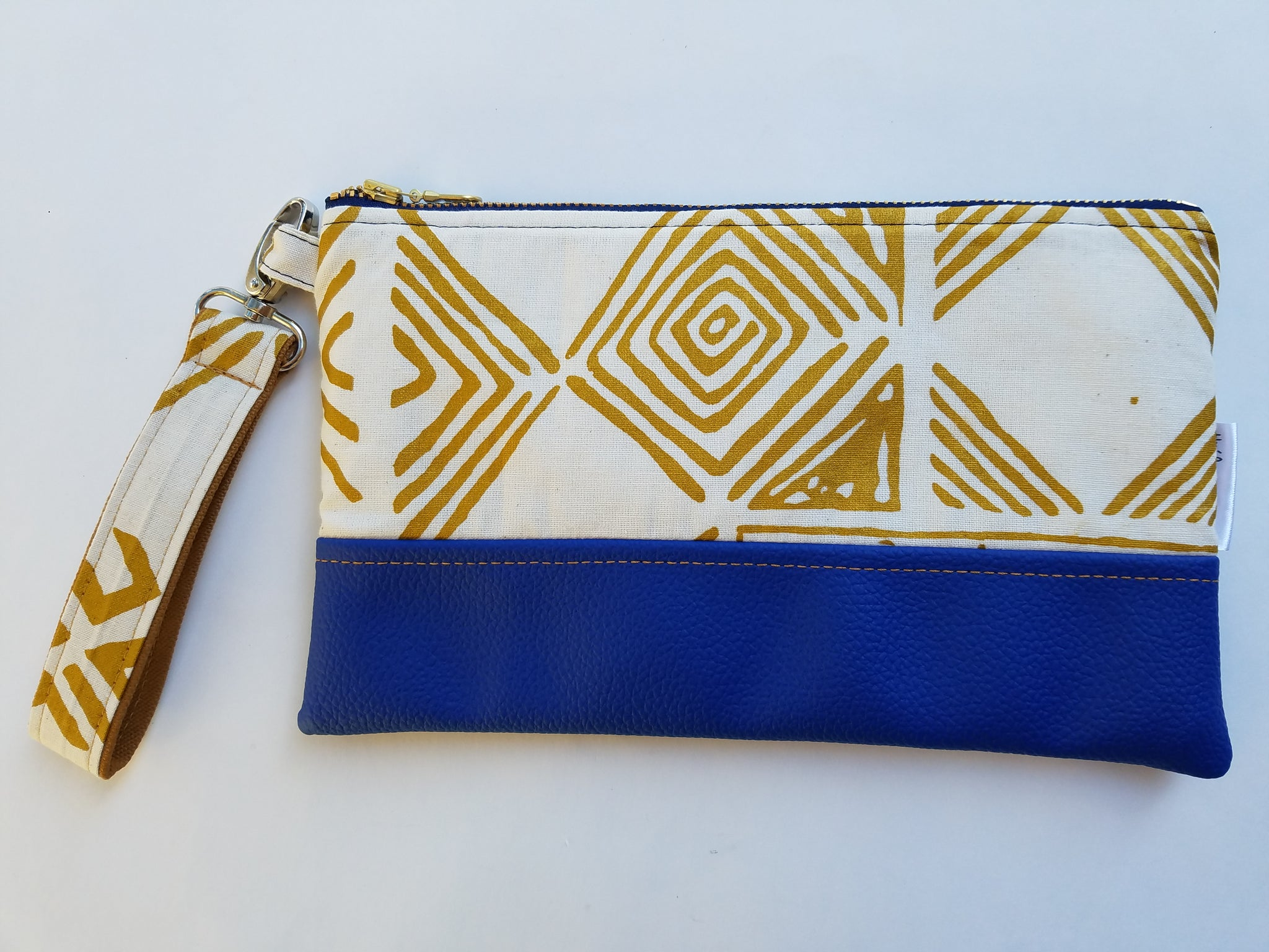 Ankara Zipper Pouch in Blue & Gold
