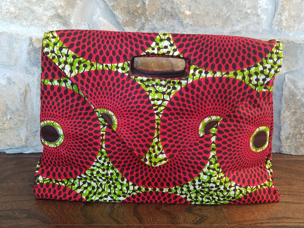 African Nsubra Oversized Soft Clutch / Purse in Red & Green
