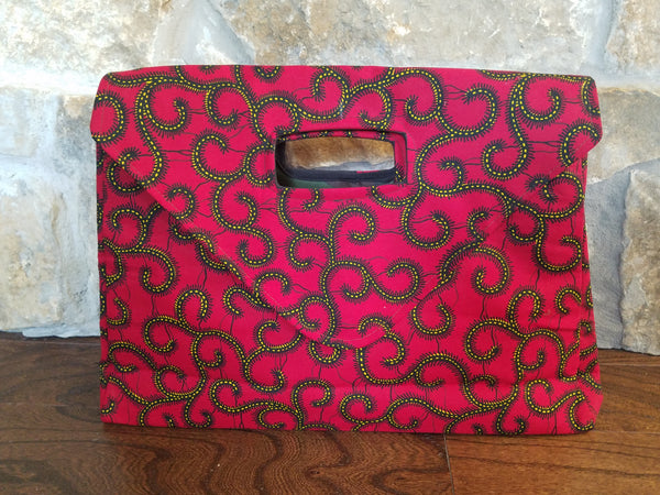 African Oversized Soft Clutch / Purse in Red