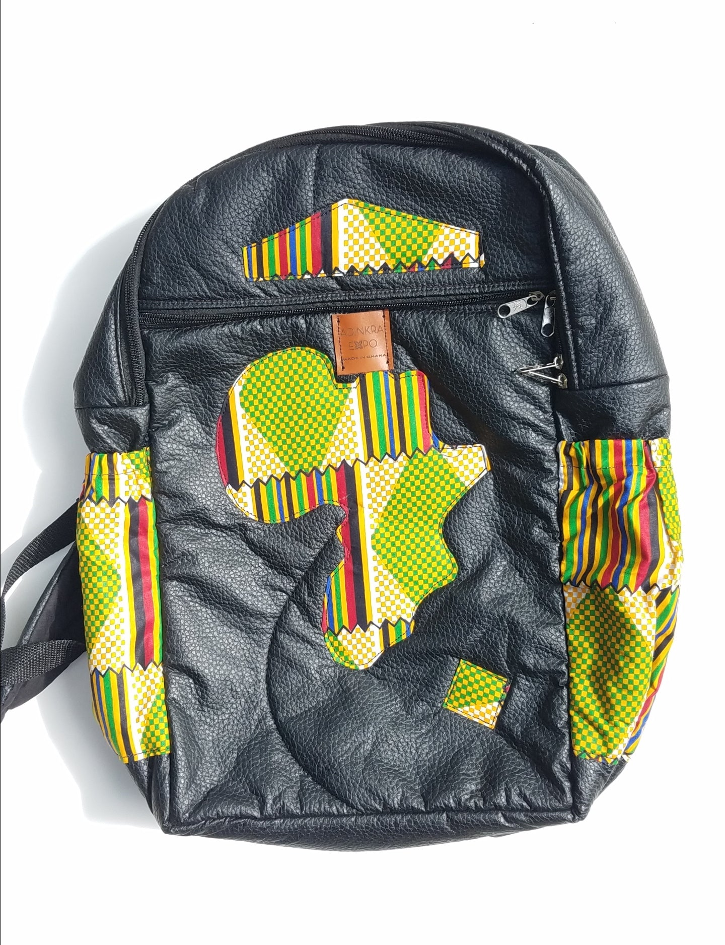 Ankara and Faux Leather Backpack