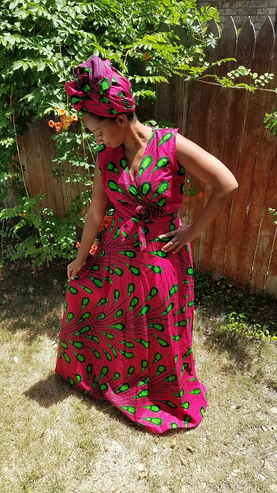 Wrap Dress in Pink & Green
