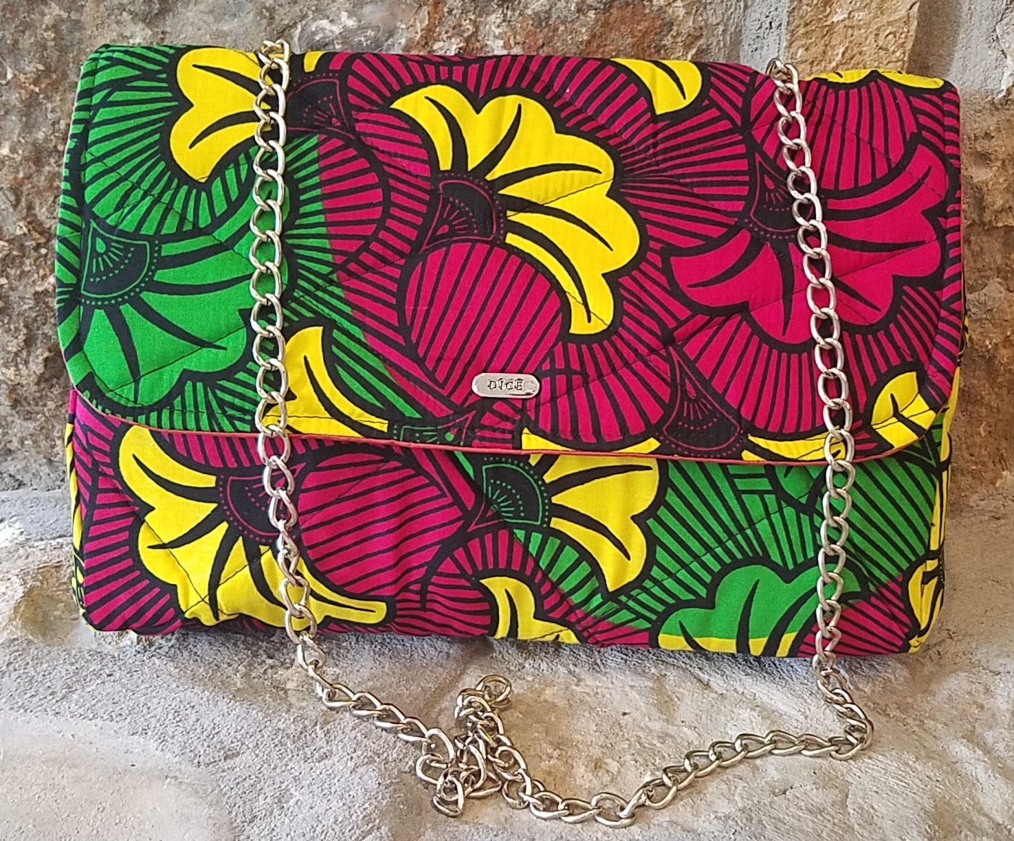 African Print Flowers Chain Link Purse