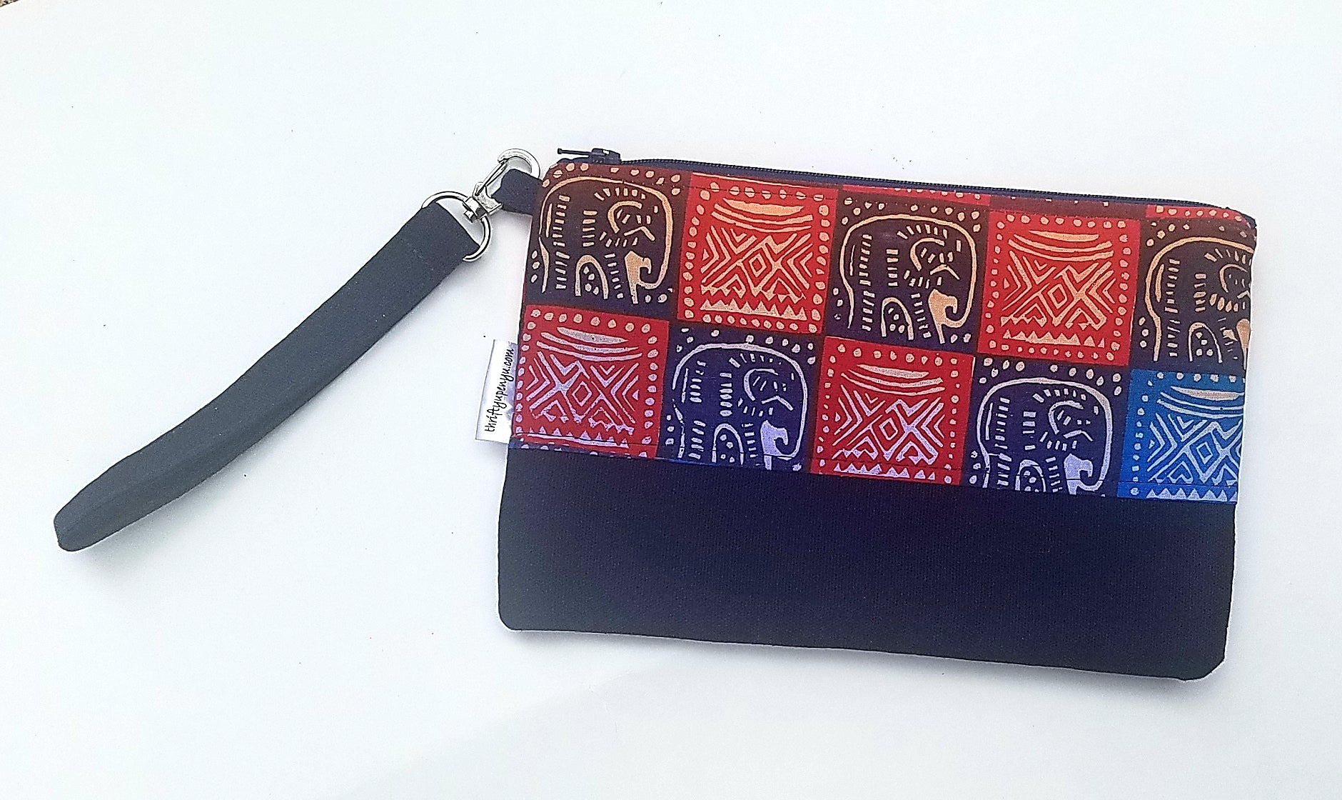 Ankara Zipper Pouch in Elephant Print