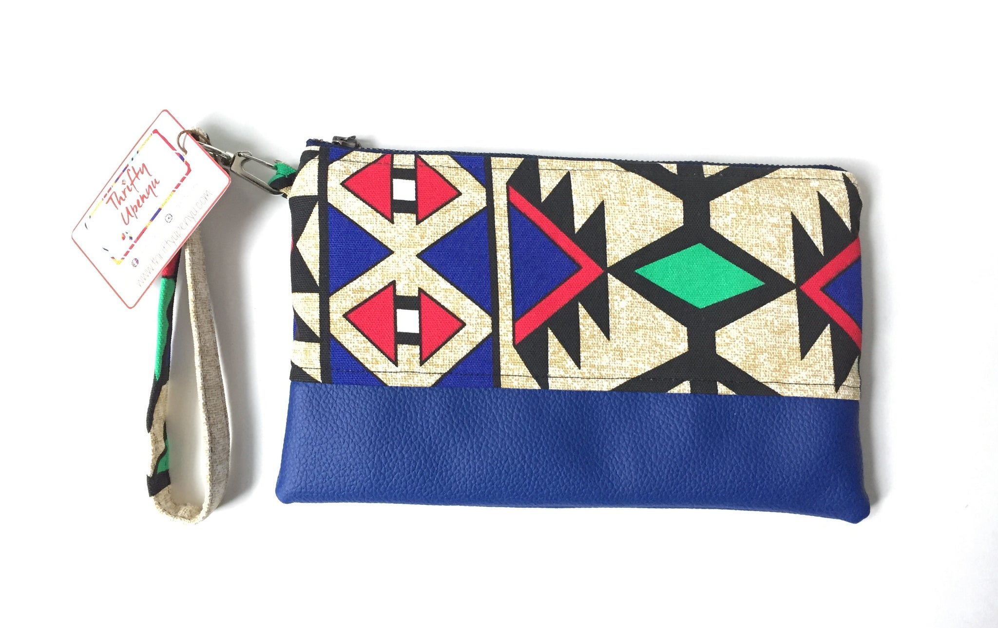 Ankara Zipper Pouch in Blue Tribal