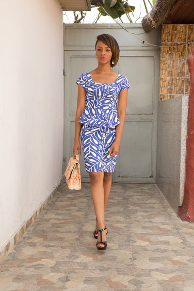 DDC Abigail Mini Blue & White Dress