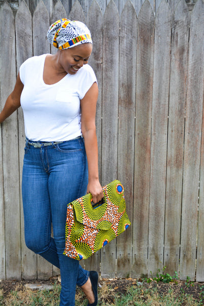 African Nsubra Oversized Soft Clutch / Purse in Yellow Orange & Blue