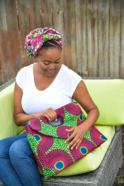 African Nsubra Oversized Soft Clutch / Purse in Pink & Green