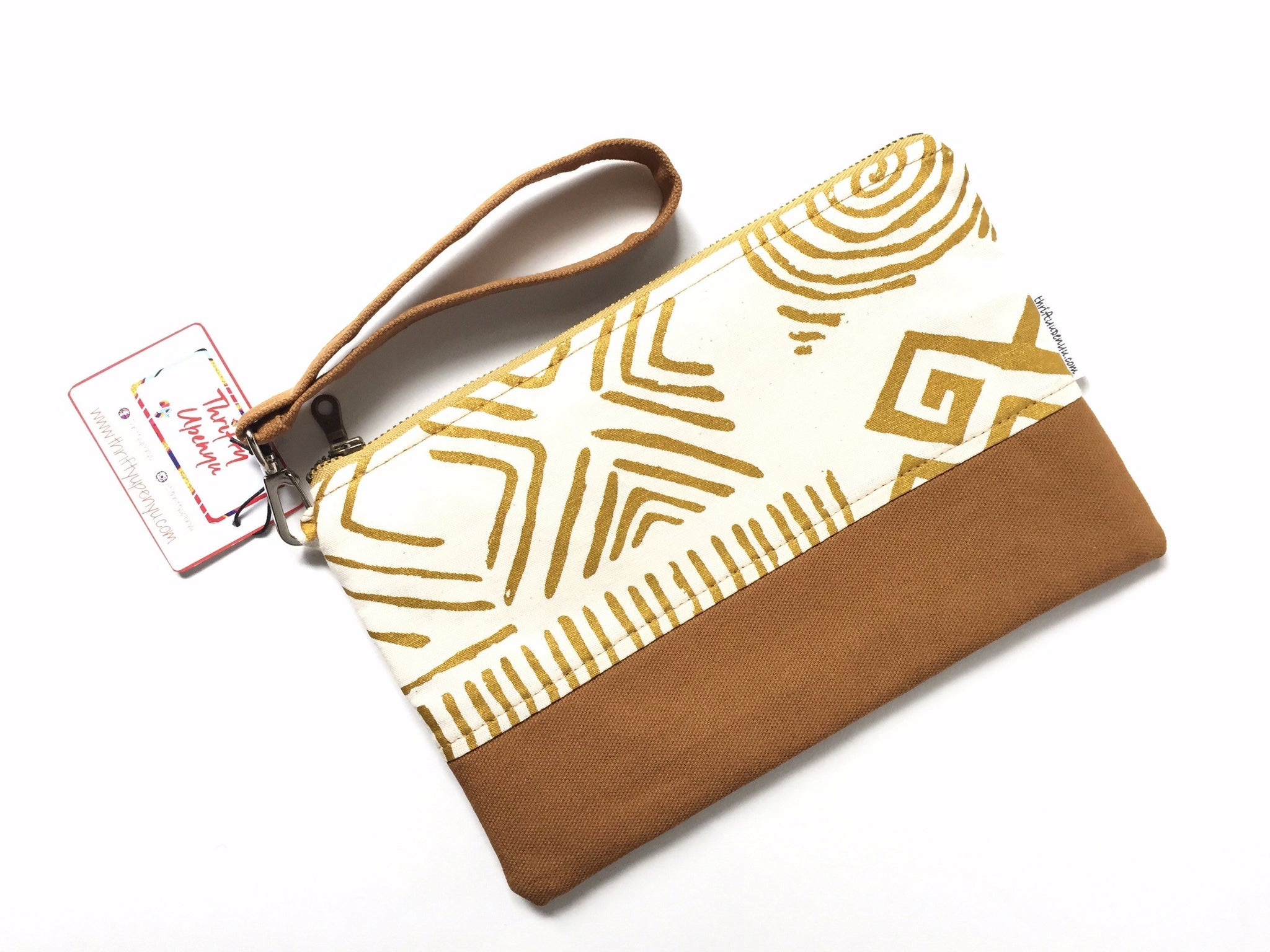 Ankara Zipper Pouch in Tan & Gold