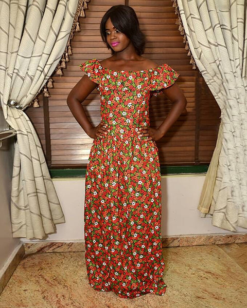 DDC Jemilla Off Shoulder Maxi Dress in Orange