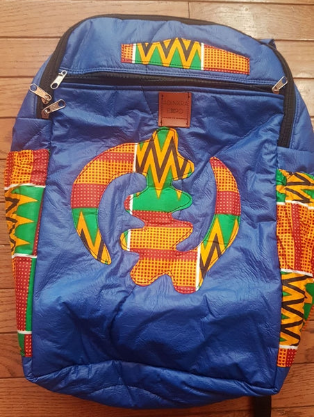Ankara and Faux Leather Backpack in Gye Nyame