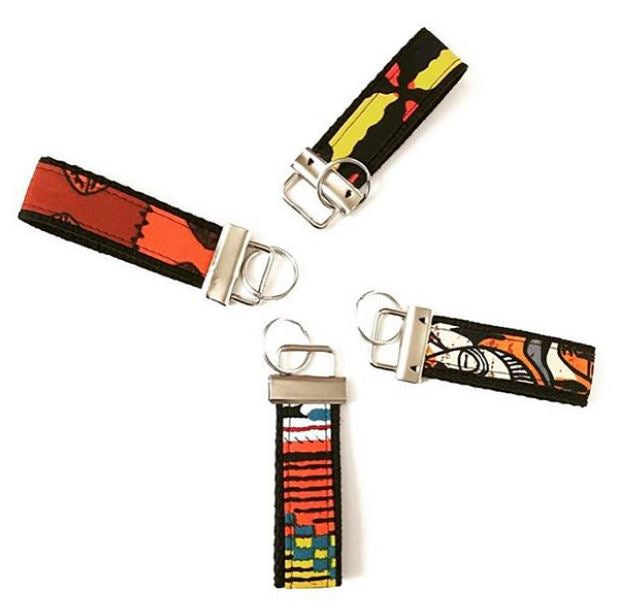 African Print Key Chain / FOB - Small