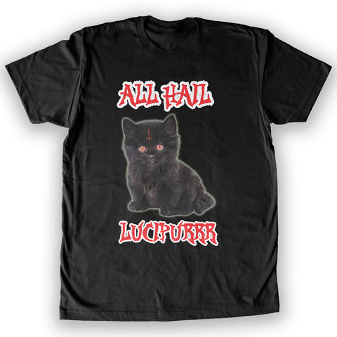 Death By Novelty - All Hail Lucipurrr Men's Fashion T-Shirt