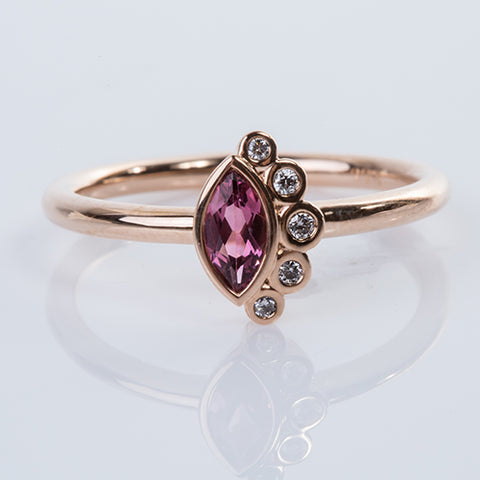 Marquise Pink Tourmaline & Diamond Ring
