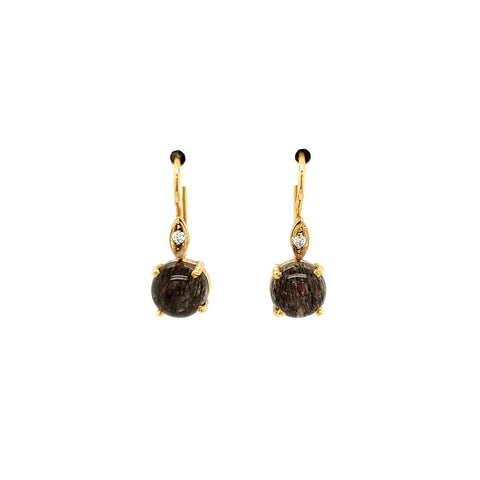 Smoky Quartz with Diamond Earrings