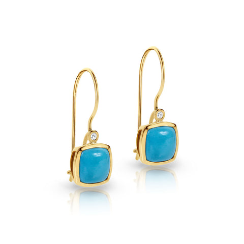 Turquoise and diamond hook earrings