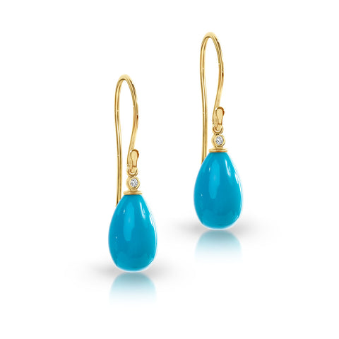 Turquoise & diamond drop hook earrings