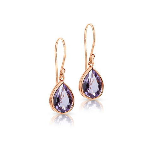 Pear Amethyst hook earrings