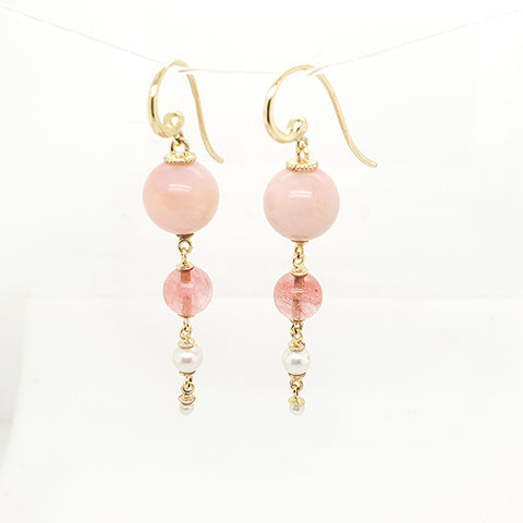 Pink Opal, Rhodonite & pearl drop hook earrings