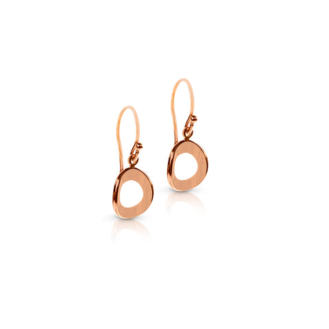 Rose gold bent circle earrings