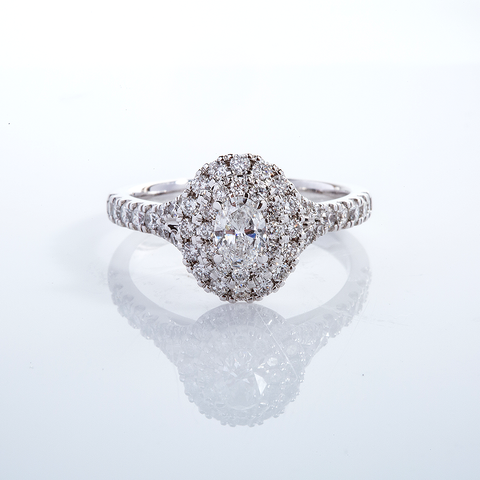 Oval double halo diamond ring 001-001162