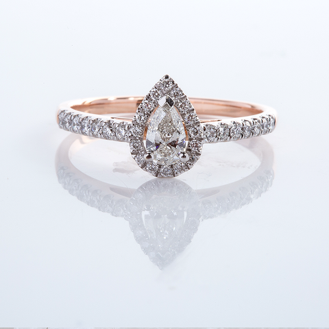Pear Diamond halo ring 001-01047