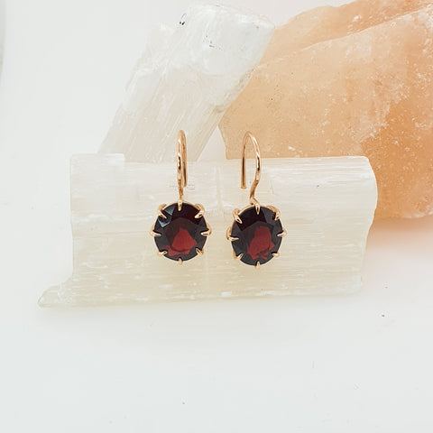 Garnet hook earrings