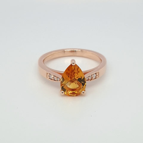 Citrine Pear & Diamond ring