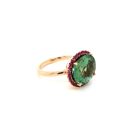 Green Tourmaline with pink rhodolite garnet halo