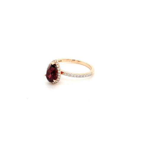 Pear Rhodolite Garnet and diamond ring