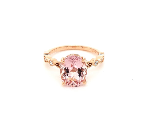 Morganite and diamond ring.