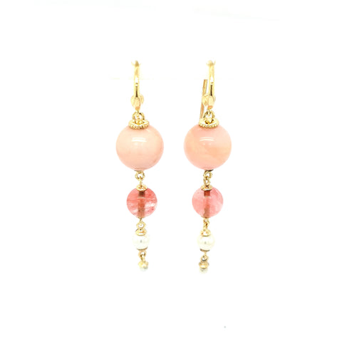 Pink Opal & Pearl Drop earrings