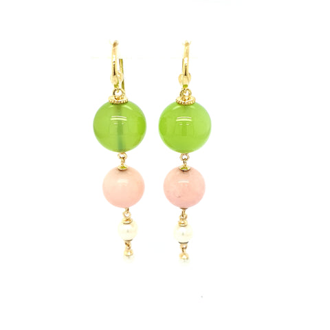 Green agate, pink opal & pearl earrings