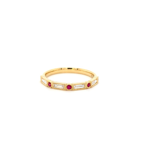 Baguette and ruby ring
