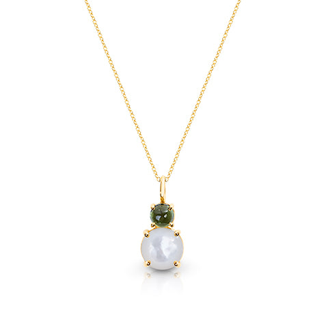 Green Tourmaline & Mother of Pearl pendant