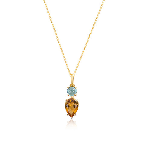 Blue tourmaline & pear citrine pendant.
