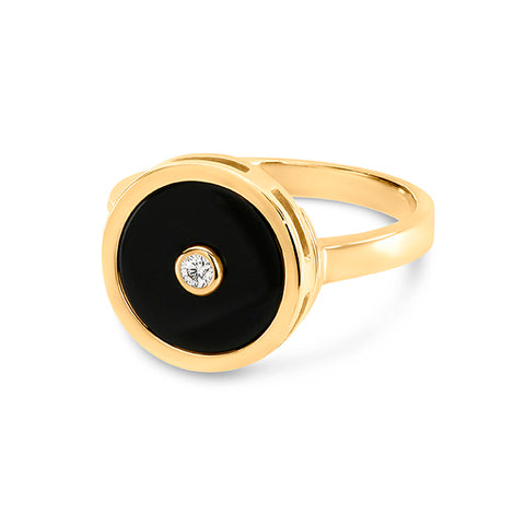 Round Black Onyx diamond ring