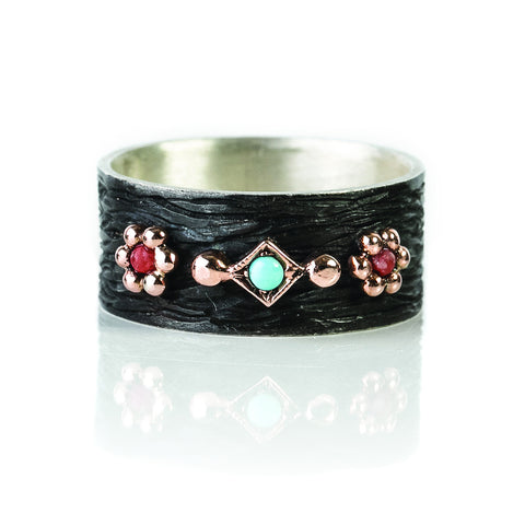 Zayliya large ring with 9ct gold, turquoise and coral