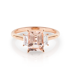 Emerald cut Morganite with Diamond Baguettes