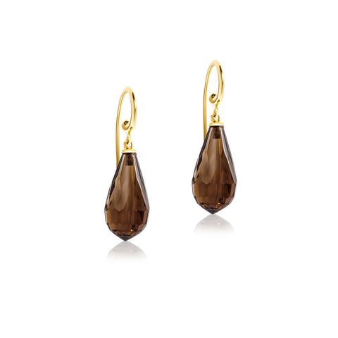 Smoky Quartz yellow gold hook earring