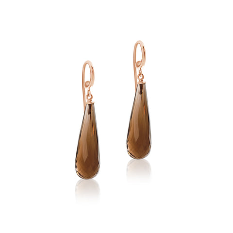 Long drop Smoky Quartz hook earrings