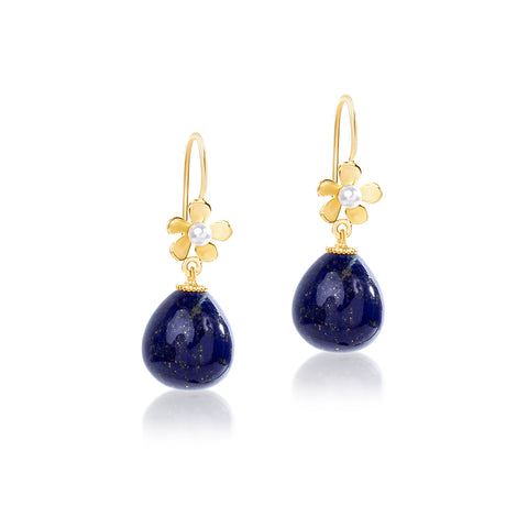 Daisy and pearl, Lapis drop hook earrings