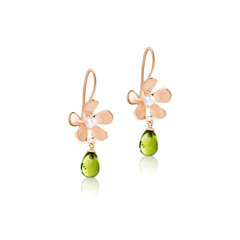 Daisy hook earrings with Green Peridot drops