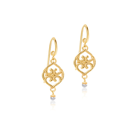 Filigree Seed Pearl hook earrings