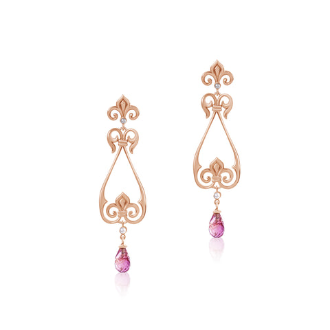 Fluer de lis pink tourmaline earrings