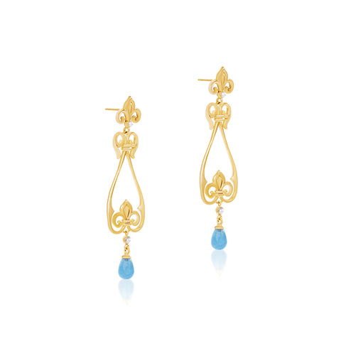 Fluer de lis aquamarine earrings