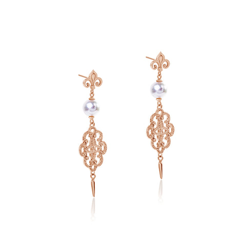 Filigree Pearl hook earrings