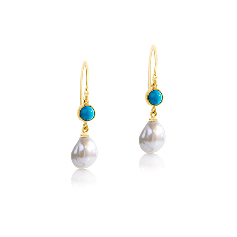 Turquoise and Keshi pearl hook earrings