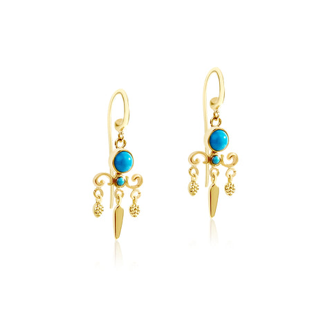 Turquoise Chandelier hook earrings