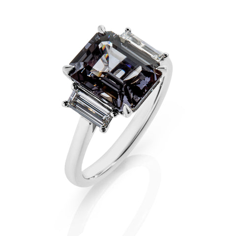 Grey Spinel with baguette diamonds