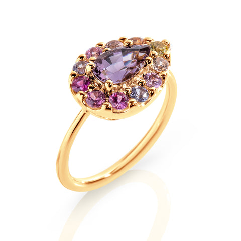 Pear shape Spinel with multi coloured Sapphire